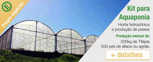 anuncio para comprar kit de aquaponia de hidroponia e pscicultura em uma grande horta