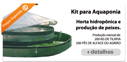 tanque circular de lona em dois níveis o de fora produz alfaces e o de dentro tilápia