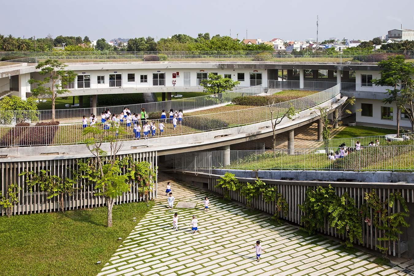 horta e jardim livro:telhado-verde-com-horta-em-jardim-de-infância-no-vietnã-5